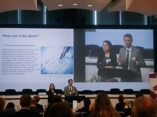 Presenting findings at a high-level conference in Brussels. Photo: European Commission